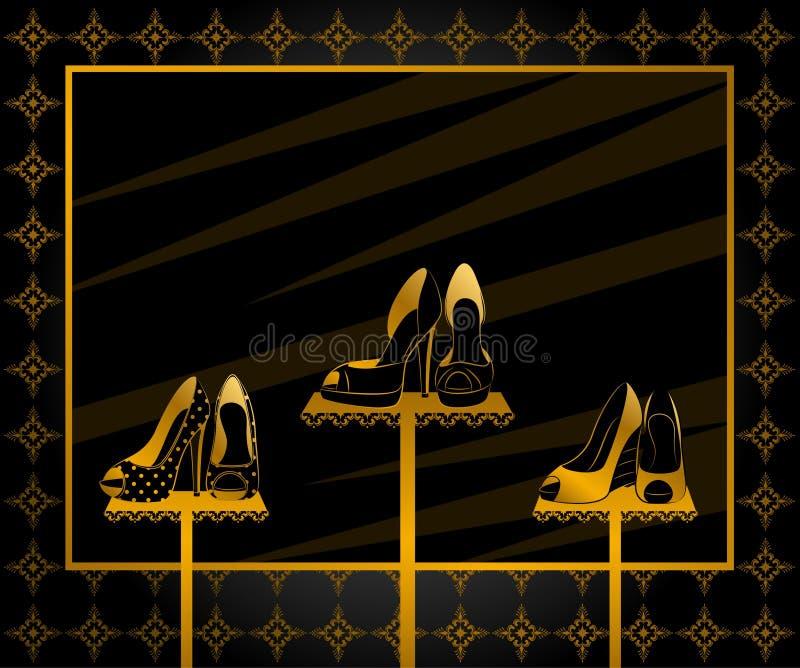 окно ботинок пятки высокое иллюстрация штока