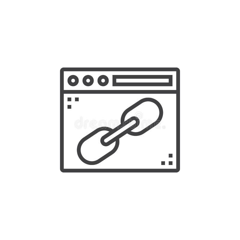 Окно браузера с линией значком связи, знаком вектора плана, линейным иллюстрация штока