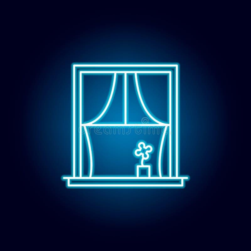 окно, занавесы, значок плана цветка в неоновом стиле r бесплатная иллюстрация