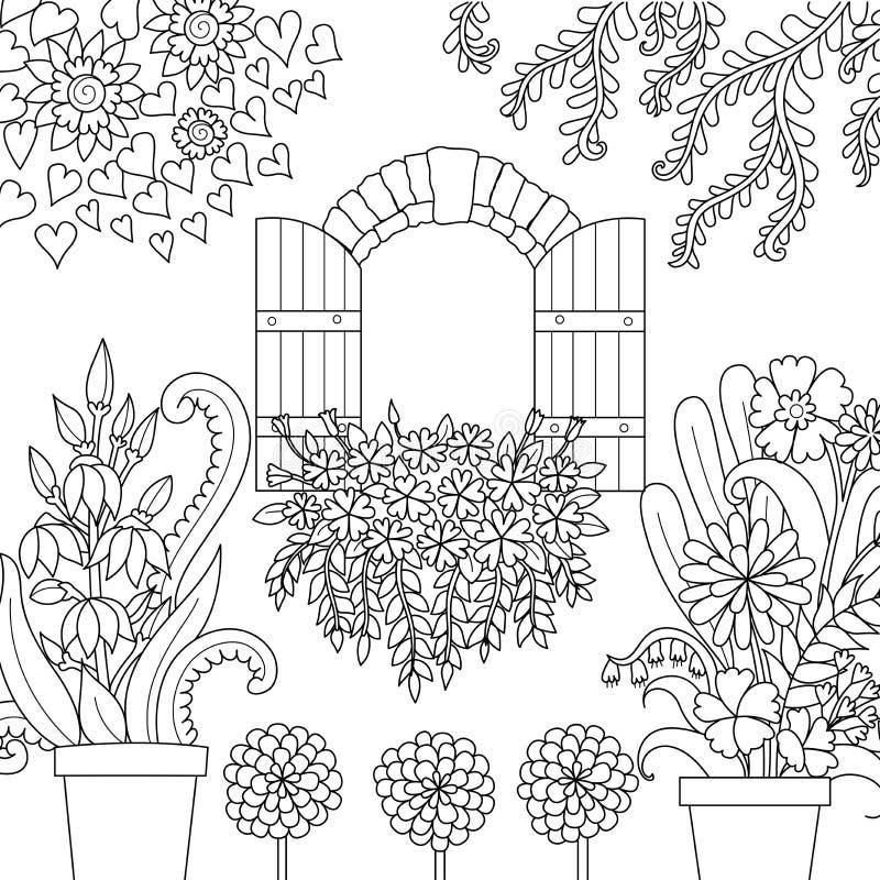 Окно и красивый сад для страницы книжка-раскраски также вектор иллюстрации притяжки corel иллюстрация вектора