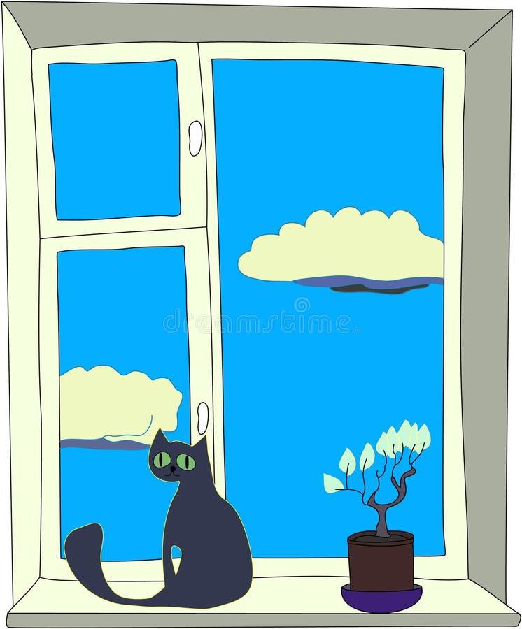 окно кота иллюстрация штока
