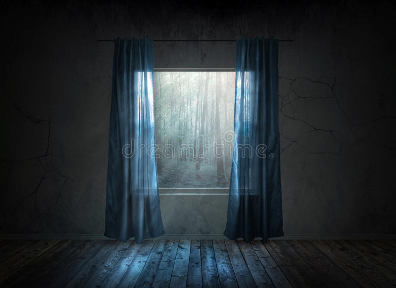 Окно на ноче стоковые фотографии rf