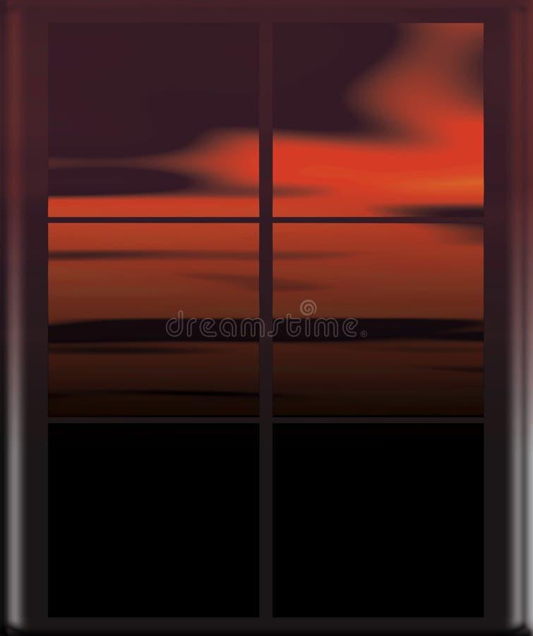 окно неба ночи красное стоковое изображение rf