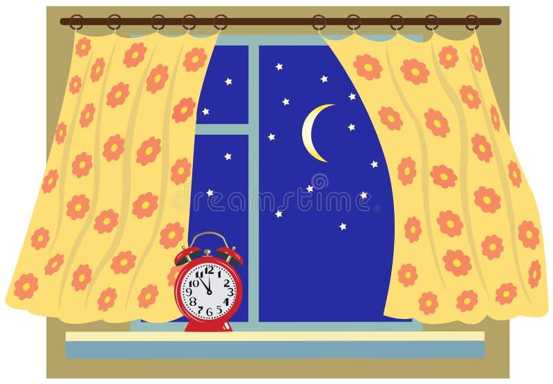 Окно ночи с занавесом стоковые изображения