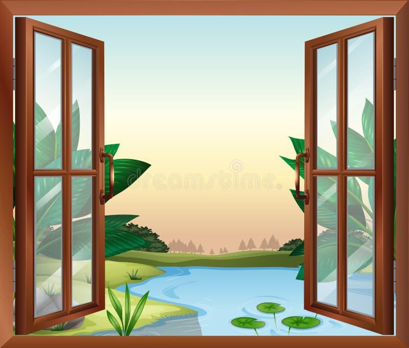 Окно около пруда иллюстрация штока