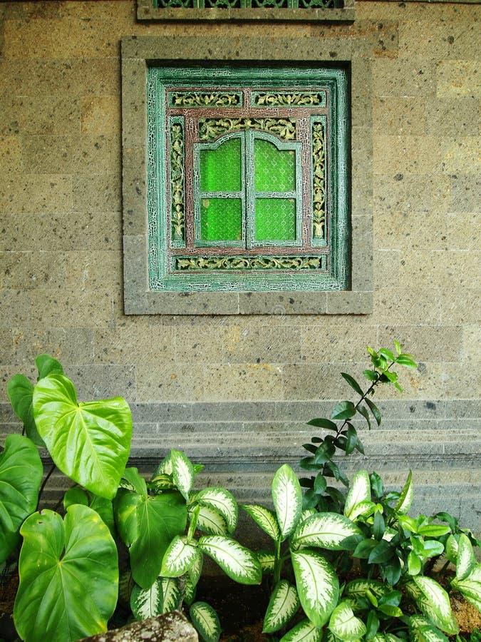 Окно дома Бали стоковое фото rf