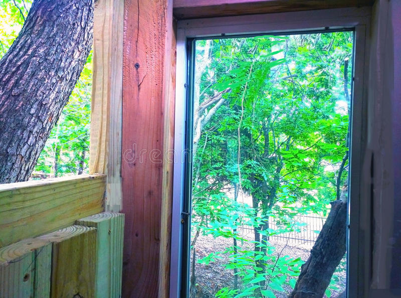 Окно дома на дереве стоковые фотографии rf