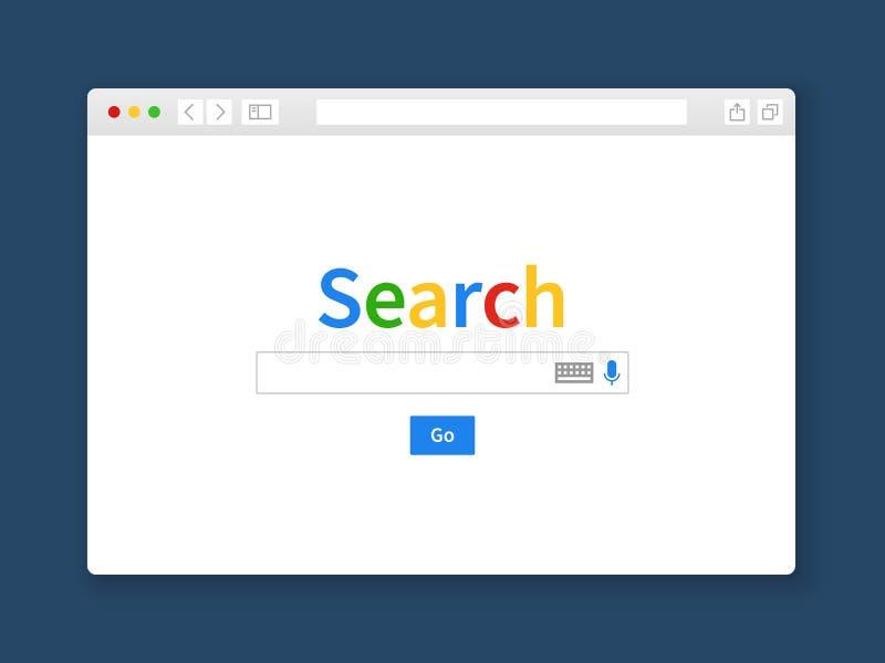Окно поиска интернета Вебсайт платы пробела двигателя интернет-страницы строки формы экрана компьютера поисковой системы браузера иллюстрация вектора