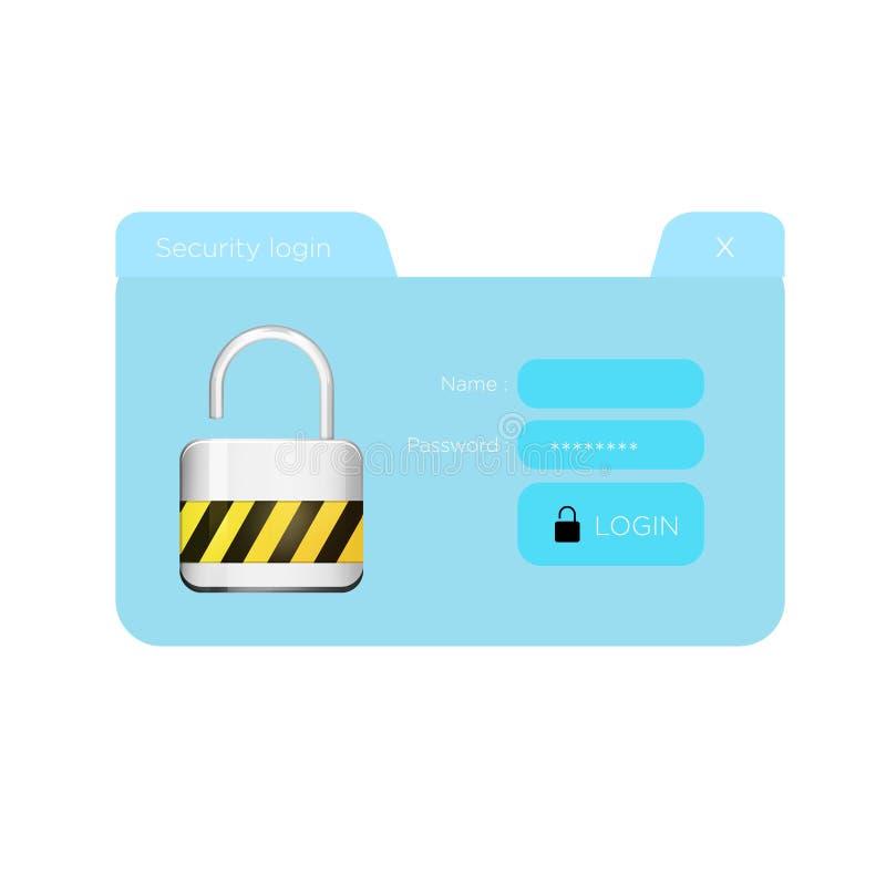Окно показанное на футуристическом интерфейсе - Conn имени пользователя безопасностью иллюстрация вектора