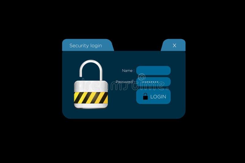 Окно показанное на футуристическом интерфейсе - Conn имени пользователя безопасностью бесплатная иллюстрация
