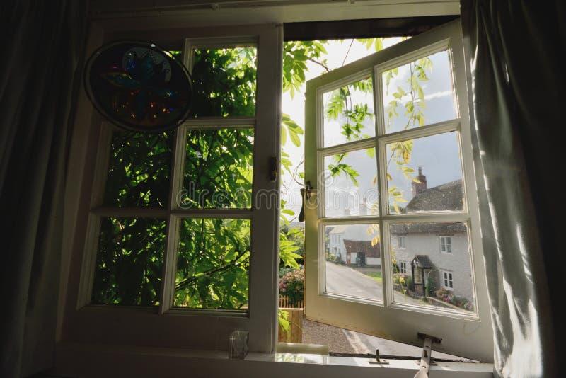 Окно покрытое вистерией стоковые изображения