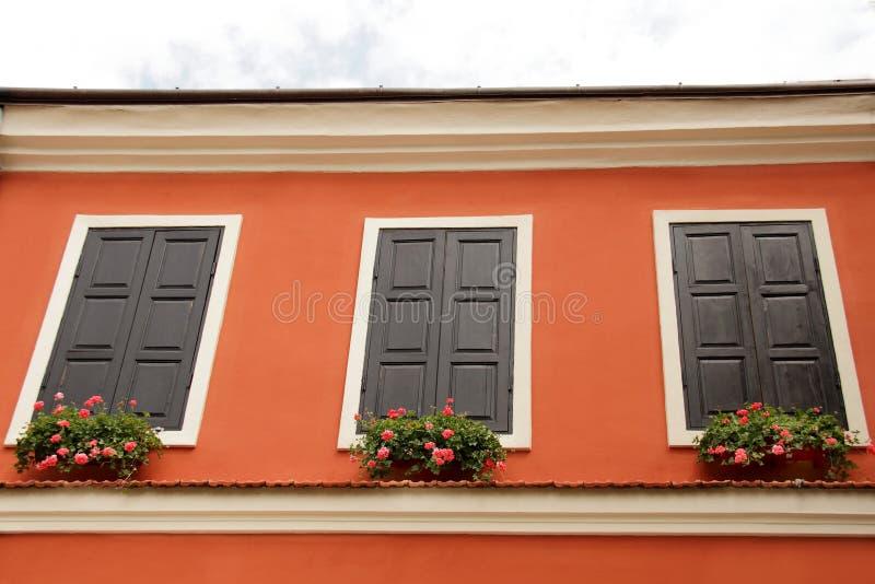 Окно при деревянные штарки, украшенные с свежими цветками стоковое фото rf