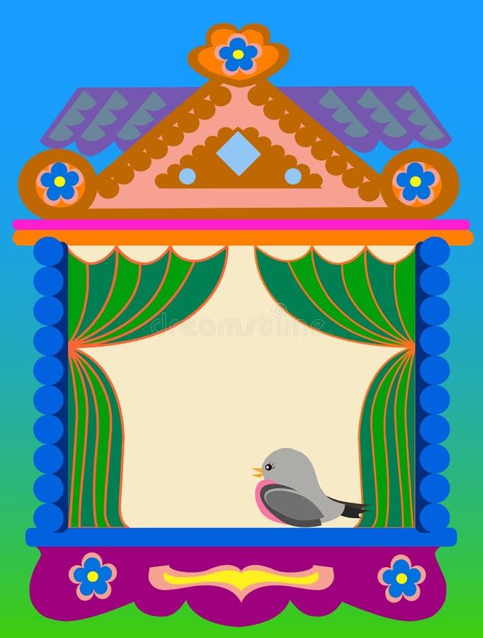 Окно русского традиционного дома иллюстрация штока