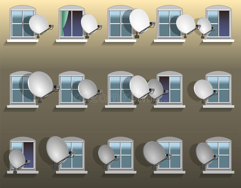 Окно спутниковой антенна-тарелки бесплатная иллюстрация
