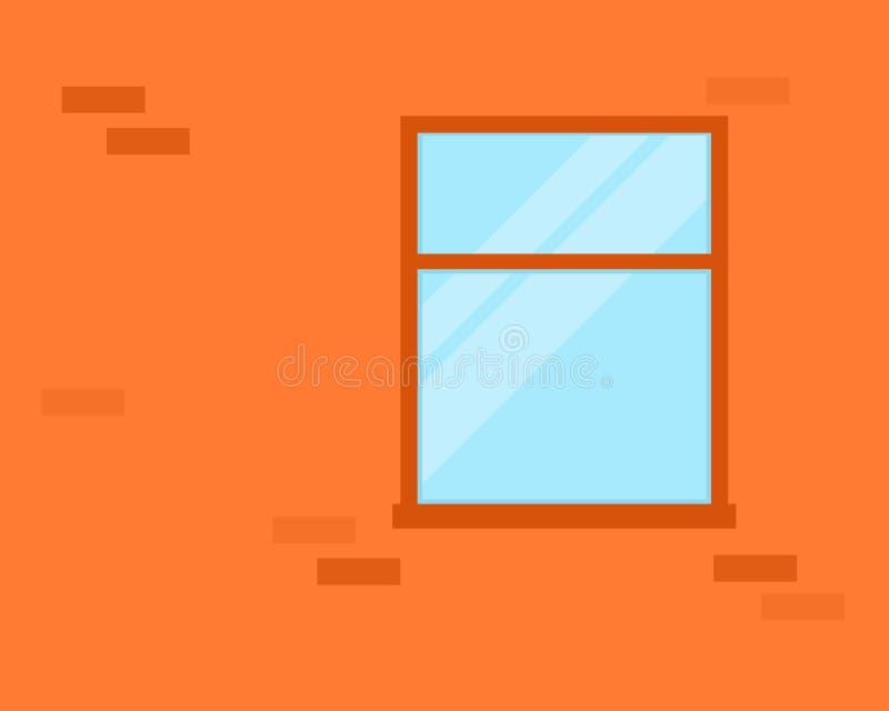 окно стены красного цвета кирпича иллюстрация вектора