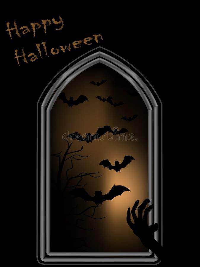 Окно хеллоуина бесплатная иллюстрация