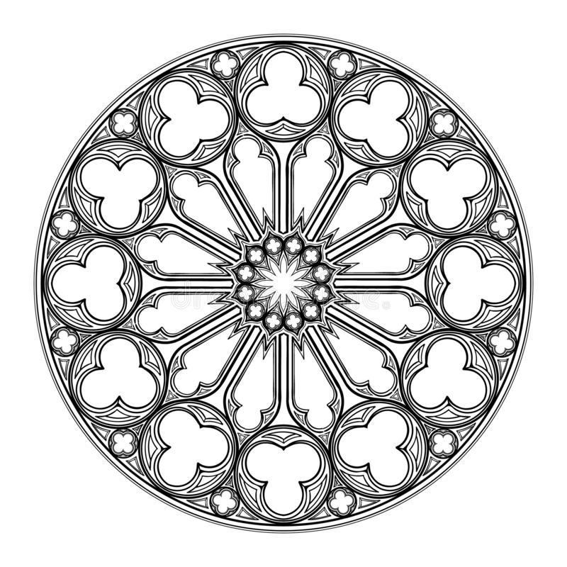 Окно Gorhic розовое Популярное архитектурноакустическое motiff в средневековом европейском искусстве бесплатная иллюстрация