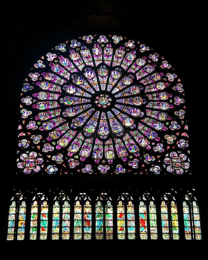 окно notre dame розовое стоковое изображение rf