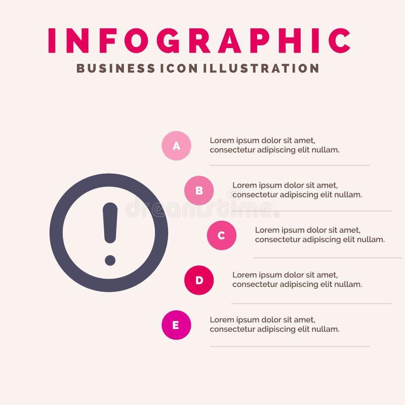 Около, информация, примечание, вопрос, предпосылка представления шагов Infographics 5 значка поддержки твердая бесплатная иллюстрация