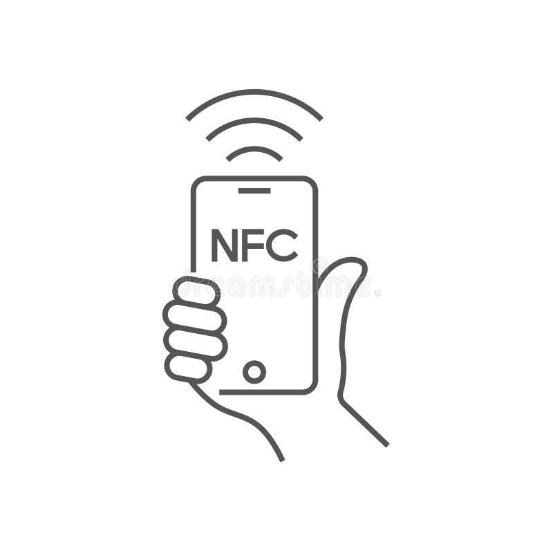 Около связи поля, мобильный телефон с модулем NFC в руке, оплате используя смартфон, линию значок вектора NFC для приложений иллюстрация вектора