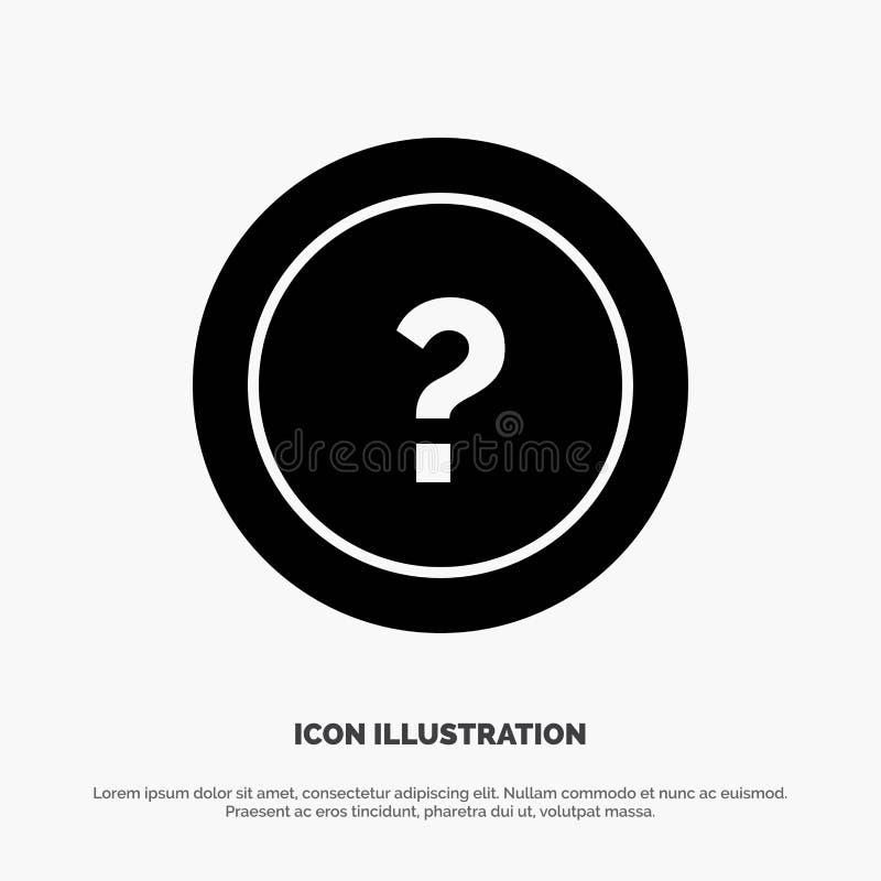 Около, спросите, информация, вопрос, вектор значка глифа поддержки твердый иллюстрация вектора