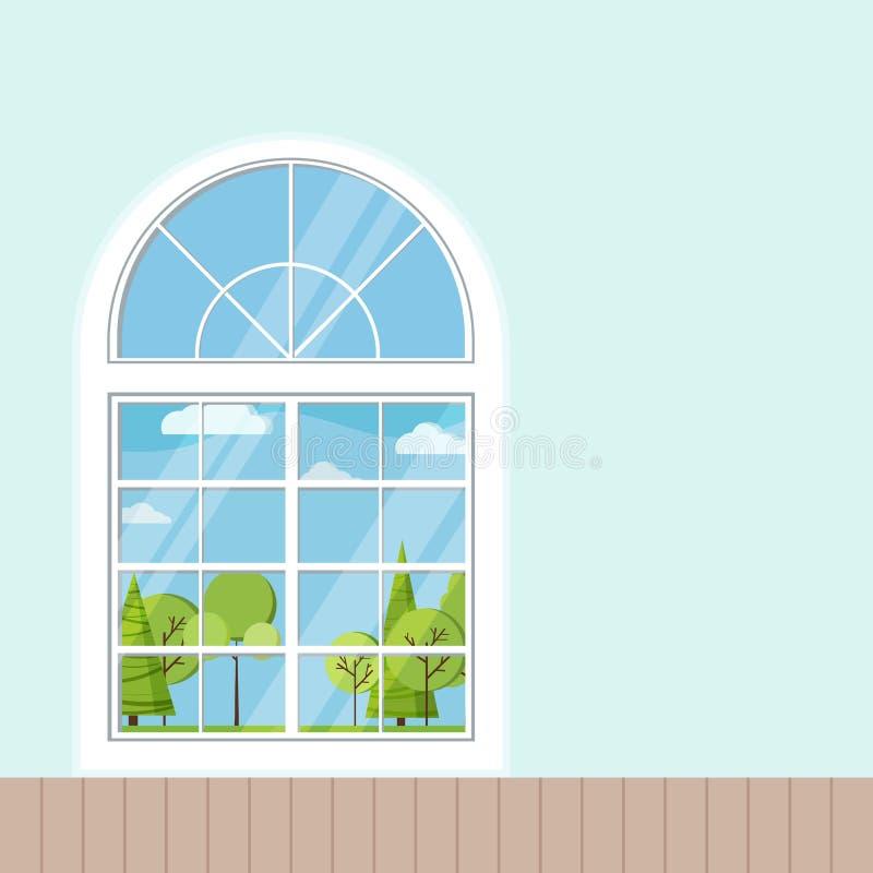 Оконная рама деревянной или пластиковой комнаты французская панорамная белая в стиле мультфильма плоском бесплатная иллюстрация