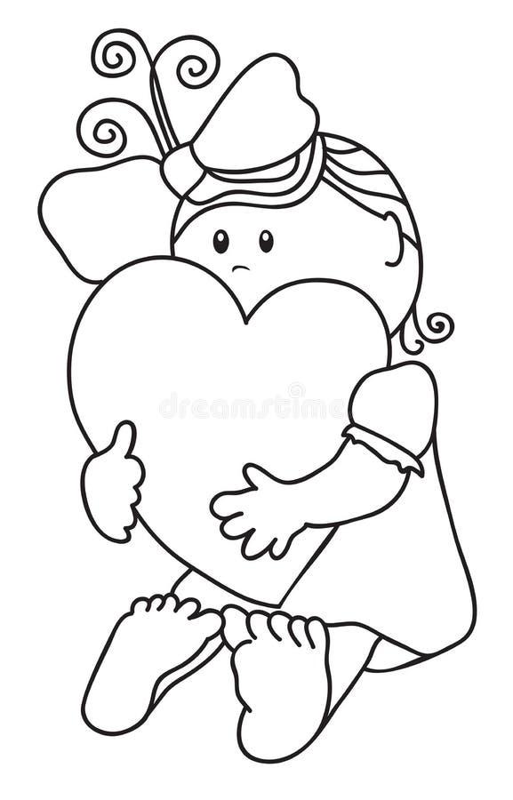 оконтурите hugs сердца девушки иллюстрация вектора