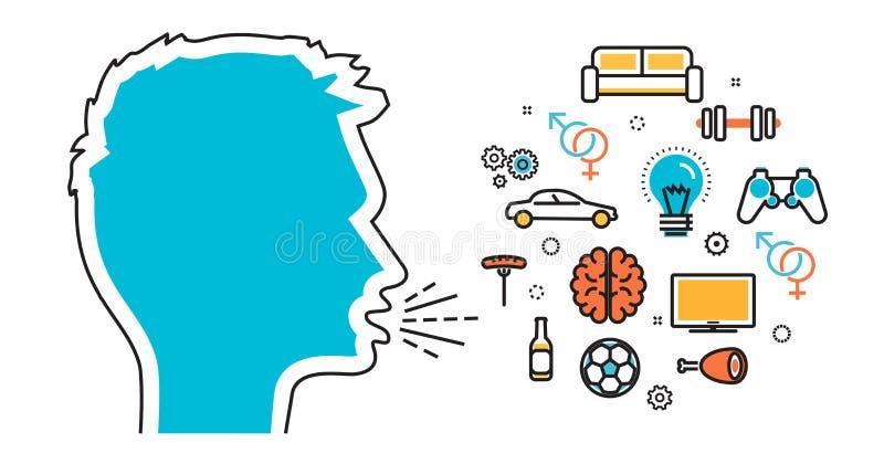 Окрики и беседа человека о их любимых интересах мечтают вектор иллюстрация штока