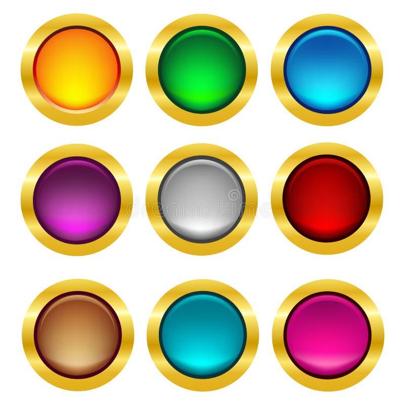 Округленная кнопка сеты с рамкой золота иллюстрация штока