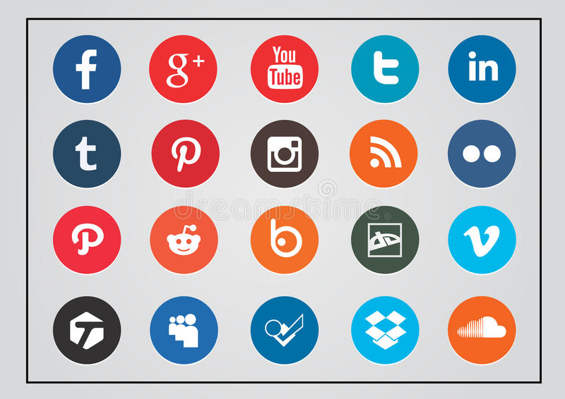 Округленный комплект значка социальной технологии и средств массовой информации иллюстрация вектора