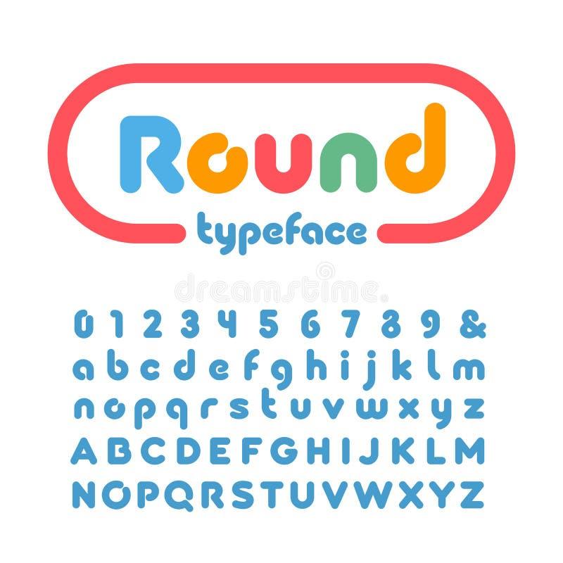 Округленный шрифт Vector алфавит с письмами влияния донута и онемейте бесплатная иллюстрация