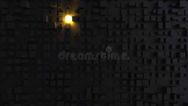 Окружающая среда конспекта черная кубическая с один светлый светить до конца иллюстрация штока
