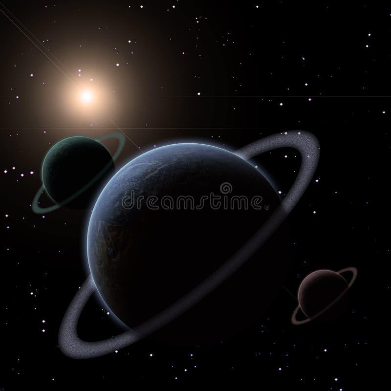 Окружённые планеты иллюстрация штока