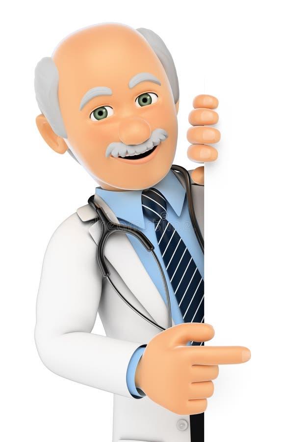 доктор 3D указывая в сторону Пустое пространство бесплатная иллюстрация