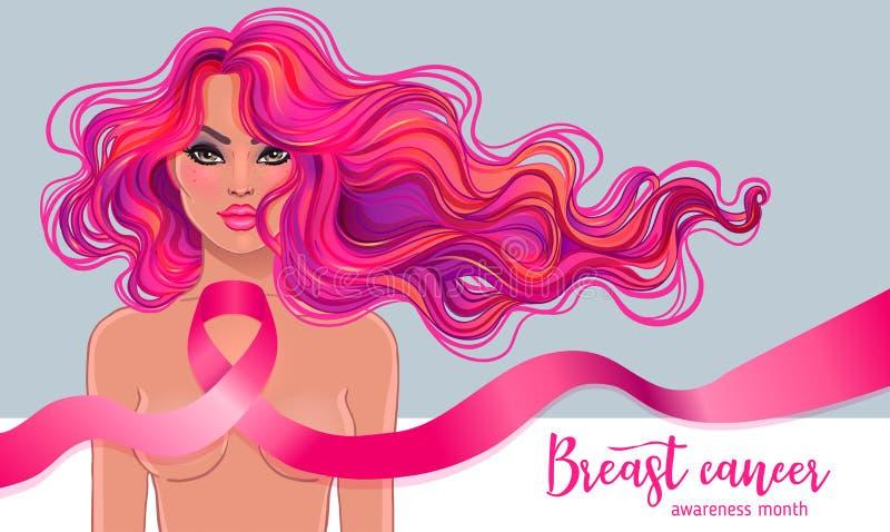 Октябрь: Месяц осведомленности рака молочной железы, ежегодная кампания к incre иллюстрация вектора