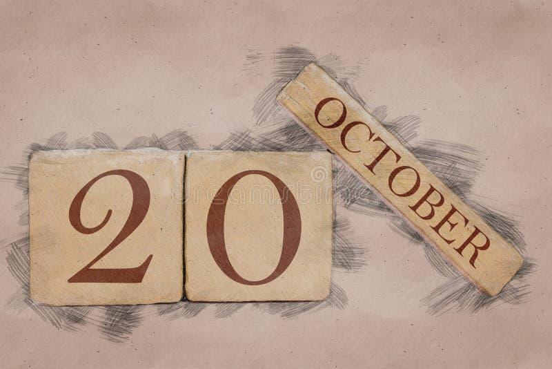 20 октября День 20 месяца, календарь в стиле эскизов ручной работы пастельный тон осенний месяц, концепция дня года стоковое фото rf
