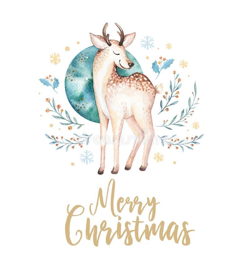 Олени акварели рождества Иллюстрация милого леса xmas детей животные, карточка Нового Года или плакат Младенец нарисованный рукой иллюстрация штока