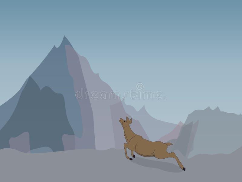 Олени бежать в горах иллюстрация штока
