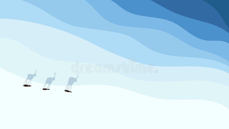 Олени исследуя новые земли где все покрыто со снегом иллюстрация штока