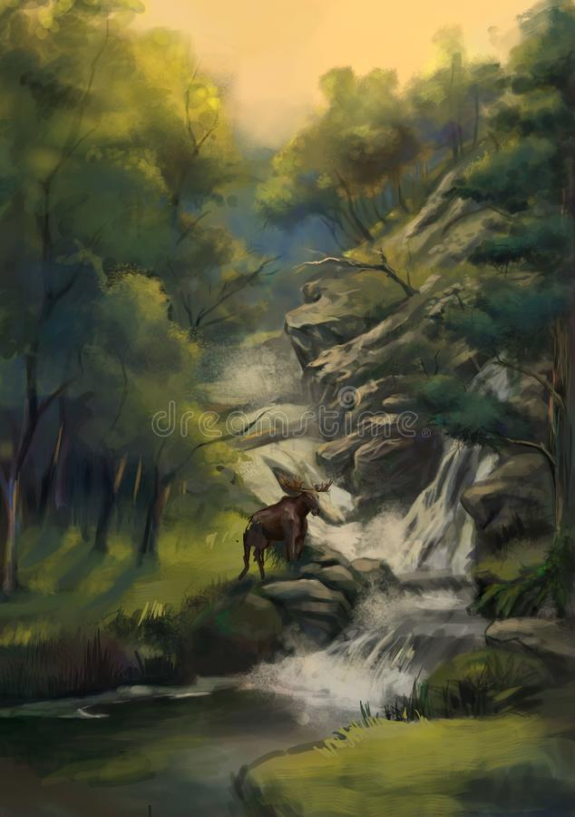 Олени леса около водопада иллюстрация штока