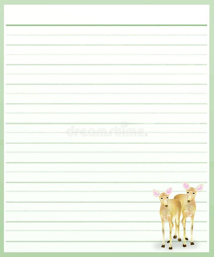 Олени на бумаге зеленого цвета выровнянной иллюстрация штока