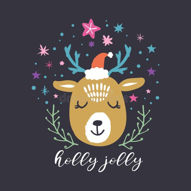 Олени Санта милой зимы вектора приполюсные Веселое рождество, падуб веселый Иллюстрация праздника питомника иллюстрация штока