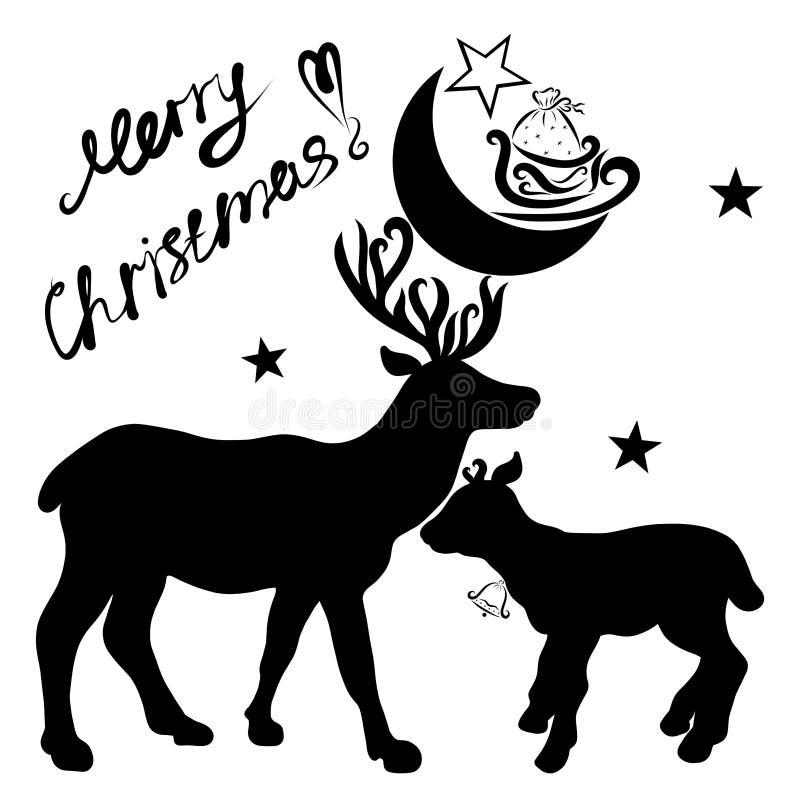 Олени с луной и подарками на рожках, маленьком олене и жулике бесплатная иллюстрация