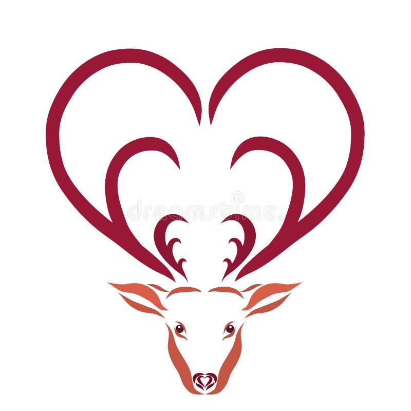 Олени с рожками в форме сердец иллюстрация штока