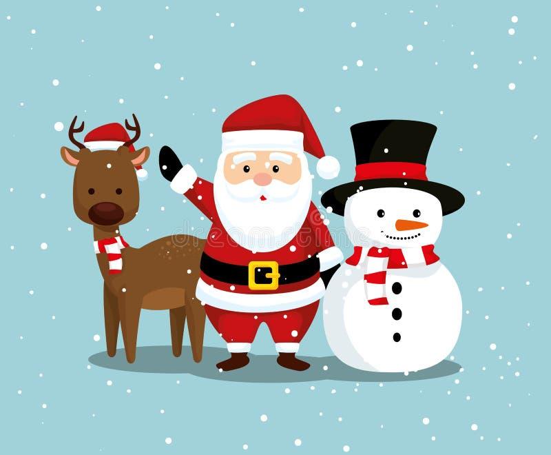 Олени с Санта Клаусом и снеговиком к веселому рождеству иллюстрация вектора