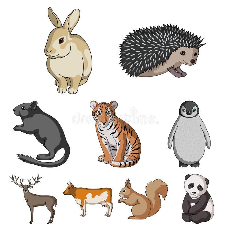 Олени, тигр, корова, кот, петух, сыч и другой вид животных Установленные животными значки собрания в шарже вводят символ в моду в иллюстрация вектора