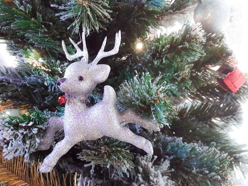 Олени украшений белого рождества на ветвях ели стоковые изображения