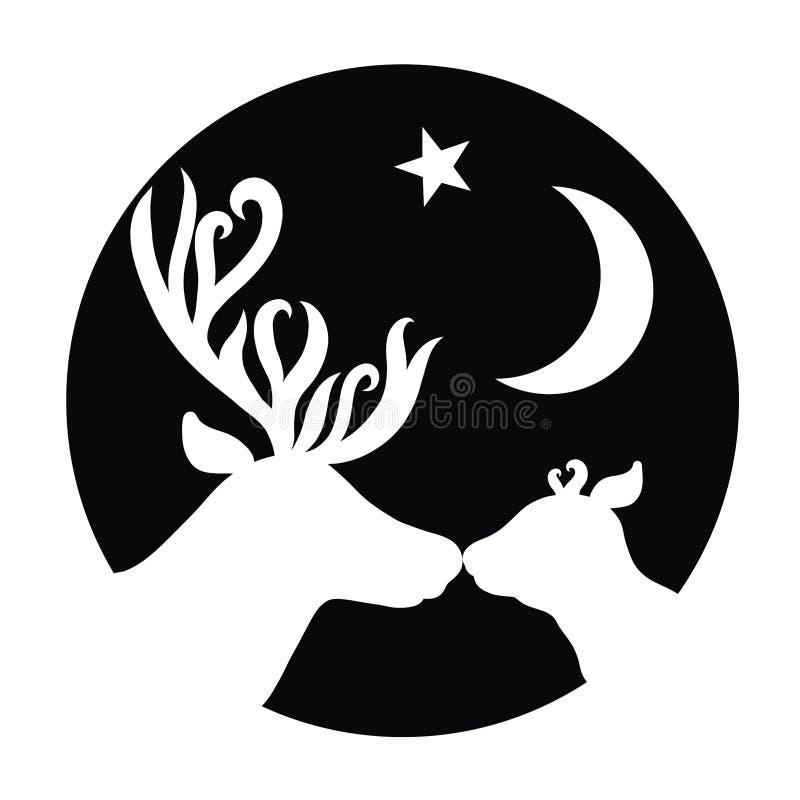 Олень папы целует его ребенка, луны и звезды, круглых бесплатная иллюстрация