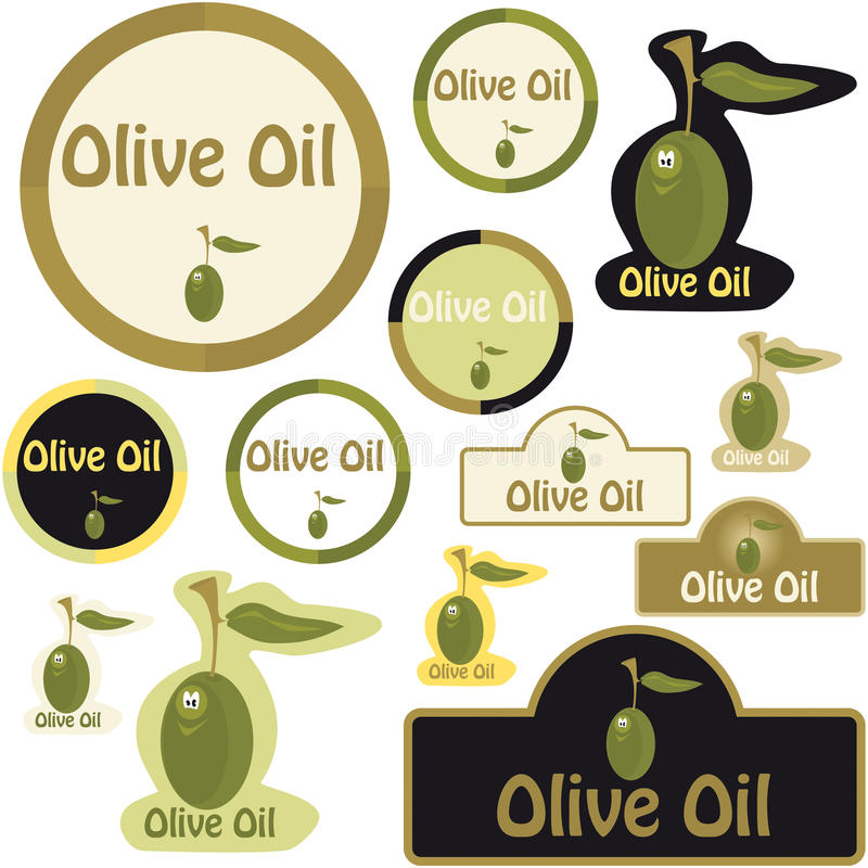 оливка масла ярлыка иллюстрация вектора