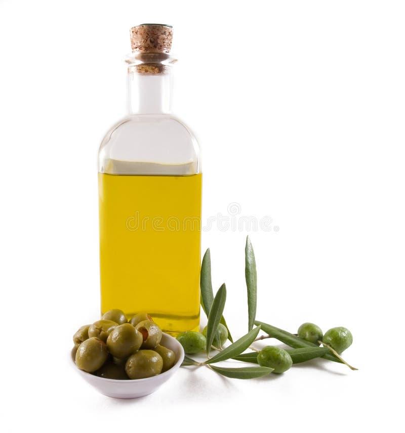 оливки оливки масла бутылки стоковая фотография rf